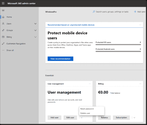 User administration in the admin portal of Microsoft 365