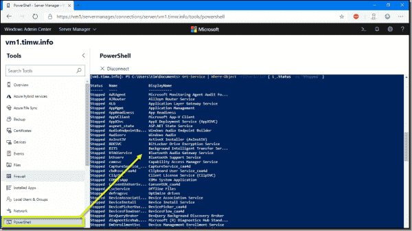 WAC has its own PowerShell console