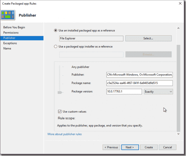 Allow an exact package version with AppLocker