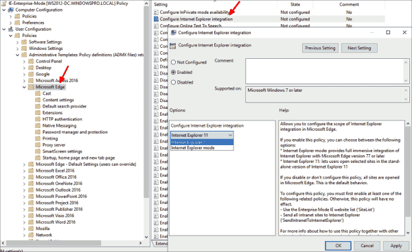 Configuring the way how Edge will display selected web pages in Internet Explorer using Group Policy