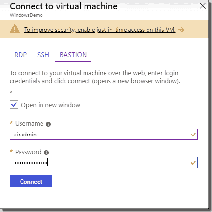 Connect to a Windows VM