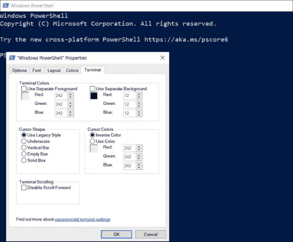 Default settings for programs using VT codes under the Terminal tab