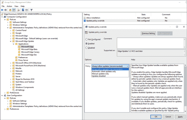 GPO setting to configure Edge Update