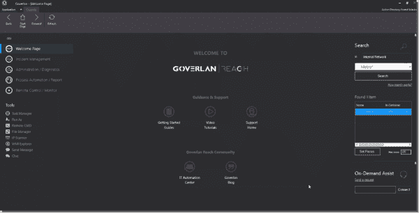 Goverlan user interface console