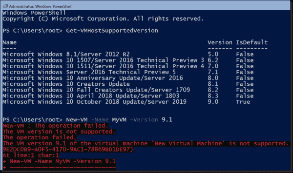 Hyper V Server supports a maximum VM configuration version of 9.0