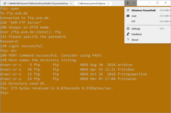 Integrating your own programs in Windows Terminal FTP here