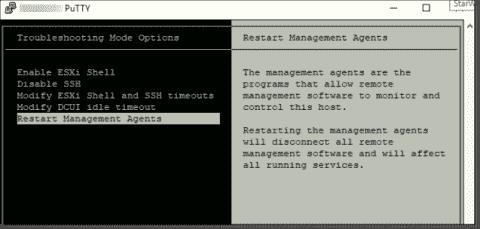 How to restart VMware ESXi management agents