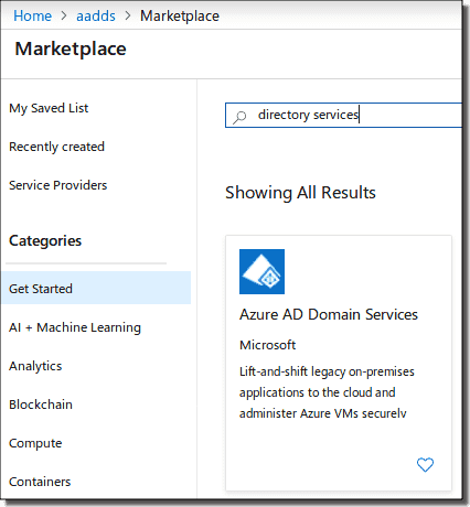Search for AADDS in the marketplace