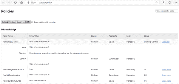The browser shows which settings from which source it has been configured with