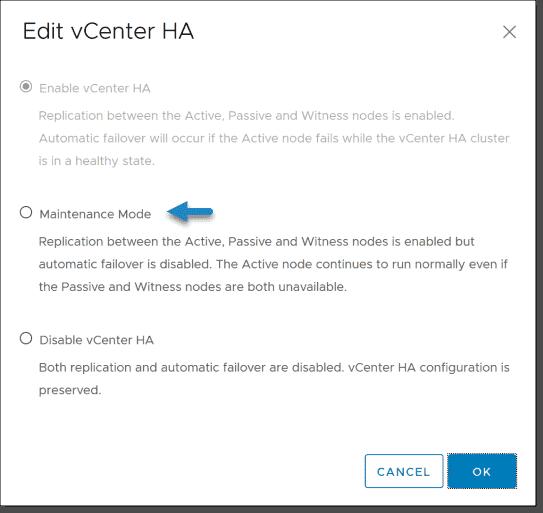 VCSA HA maintenance mode