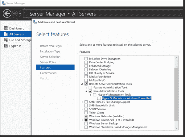 You can use the Server Manager to add Hyper V tools, but Hyper V Manager is not available with it