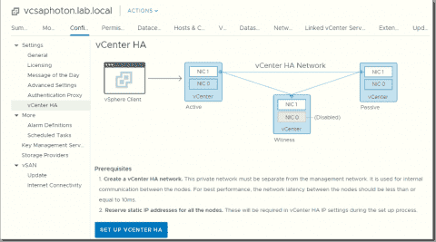 Patch VMware vCenter Server Appliance with High Availability activated