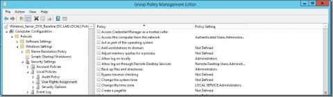 User rights assignment in Windows Server 2016
