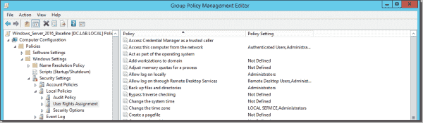 Configuring user rights assignment via Goup Policy