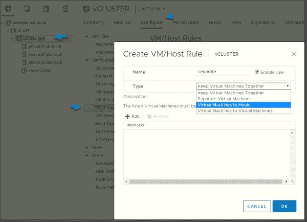 Create VM:Host rule