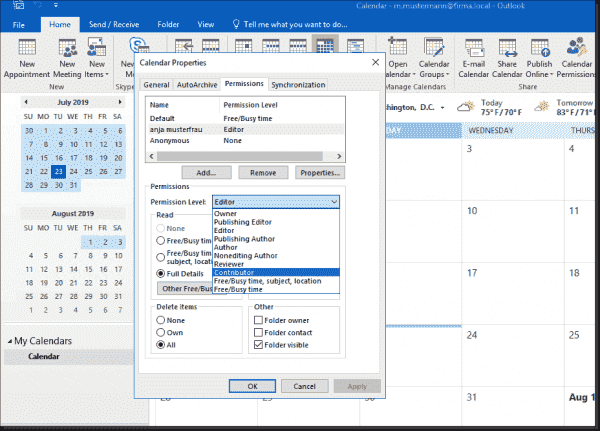 Displaying calendar permissions in Outlook