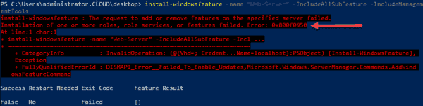 Error message installing IIS with subfeatures without .NET 3.5 installed