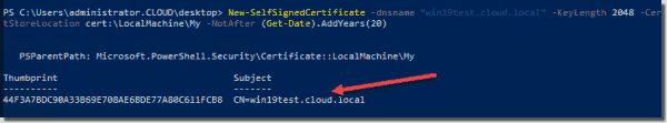 Generating a new self signed certificate with PowerShell