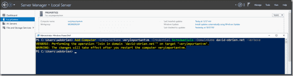 Joining the Azure VM to the domain