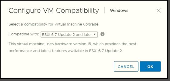 Latest VMware Virtual Hardware 15