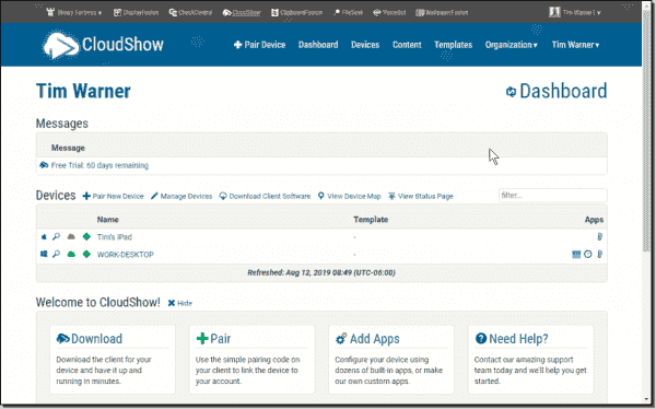 My CloudShow dashboard
