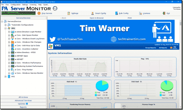 PA Server Monitor console management application