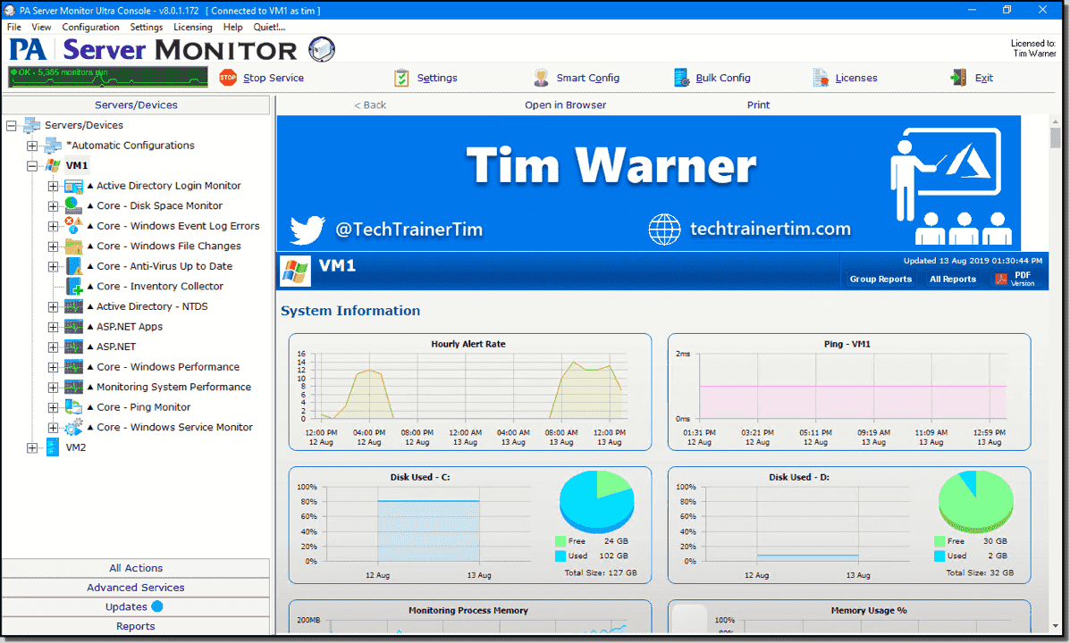 PA Server Monitor for Windows and Linux