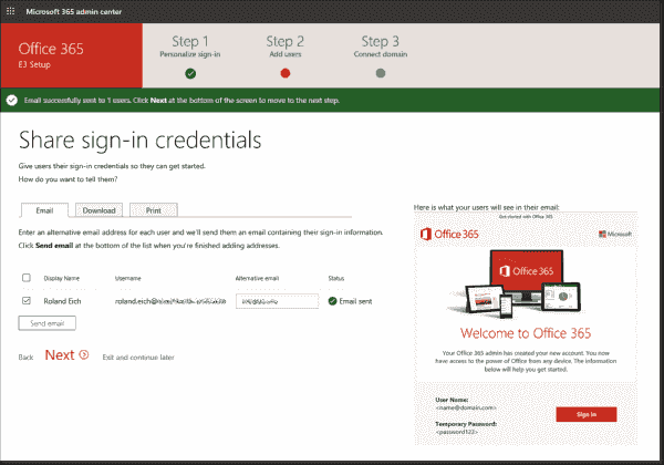 Sharing credentials with newly created users