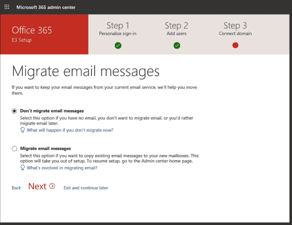 The wizard offers to import email from other systems