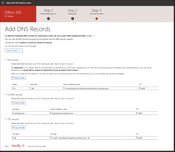 The wizard shows which DNS entries are required for the selected domain