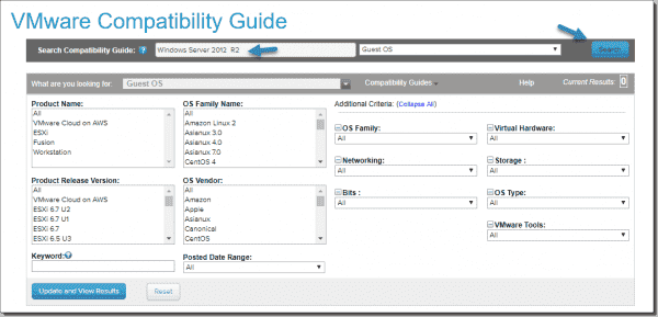 VMware compatibility guide – Selecting a guest OS and clicking search