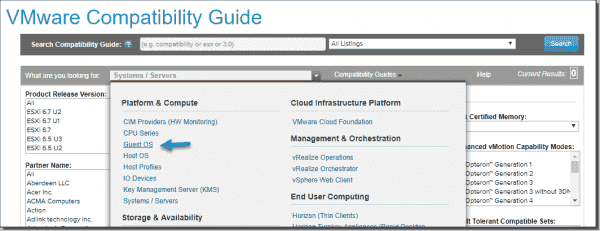 VMware compatibility guide Select guest OS