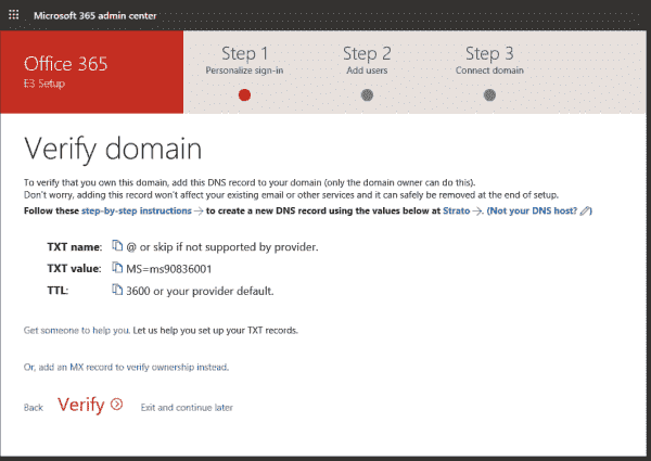 Verifying the entered domain