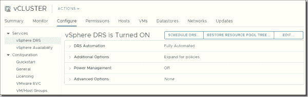 vSphere DRS in Fully Automated Mode