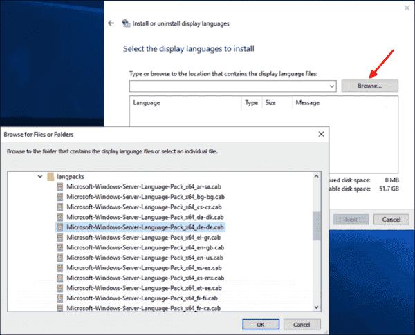 Add an LP under Windows Server 2019 with lpksetup.exe