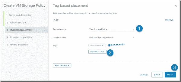 Add tag rules to filter datastores to use for placing VMs