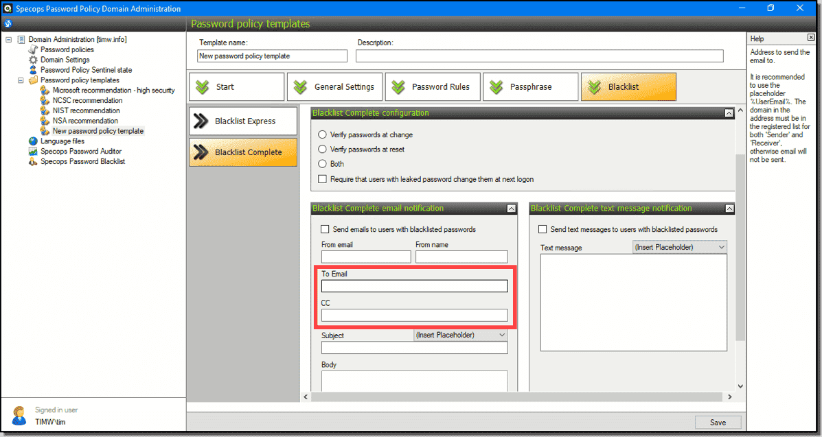 Configuring blacklist email notifications