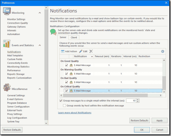 Configuring quality based notifications
