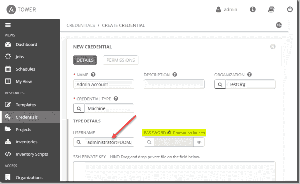 Configuring the username and password settings