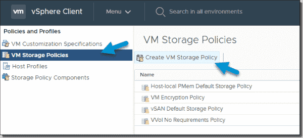 Create a new VM storage policy