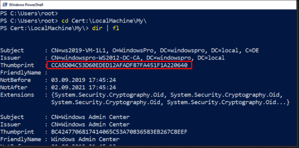 Displaying the thumbprint of the new certificate with PowerShell
