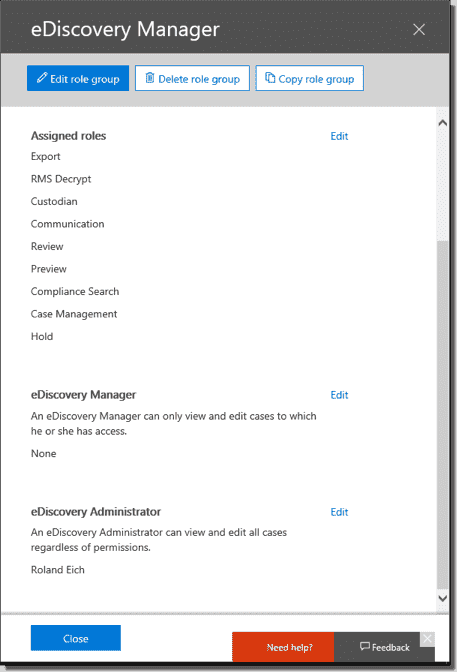 Editing the list of eDiscovery administrators