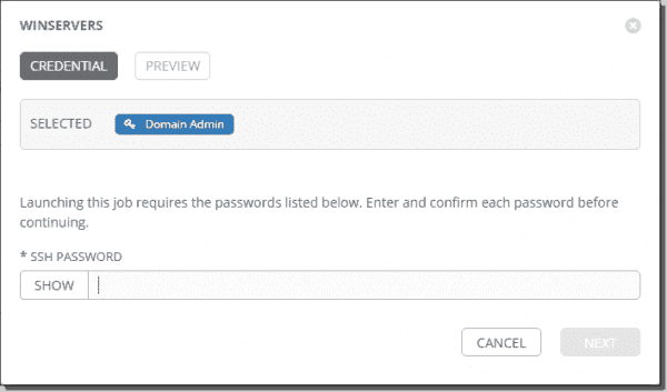 Enter the password for your Ansible Tower job template