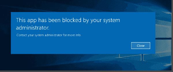 Error message for a standard user