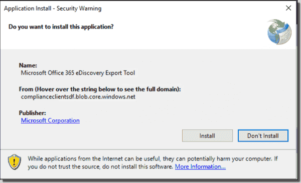 Microsoft Office 365 eDiscovery Export Tool setup