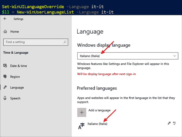 Only after activating a language with PowerShell does it appear in the Settings app