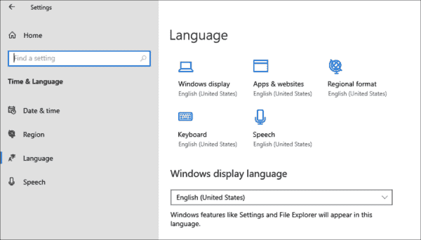 Previews of Windows 10 20H1 allow a separate configuration of different language settings