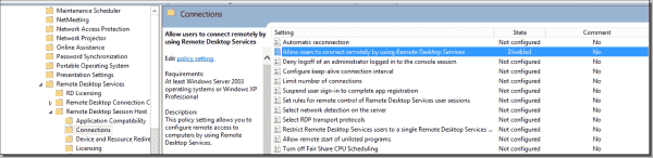 RDP settings in Group Policy