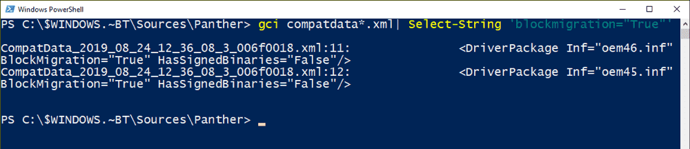 Searching XML log files for the BlockMigration attribute