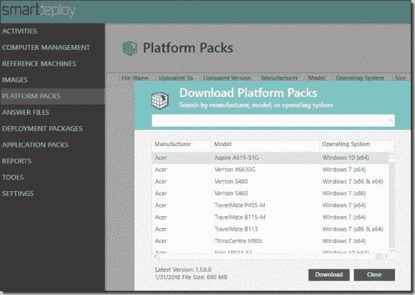 Selecting driver Platform Packs for downloading and deployment